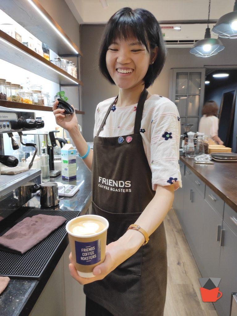 APR 22 2021: Barista Truc of Friends Coffee Roasters making a fantastic Latte